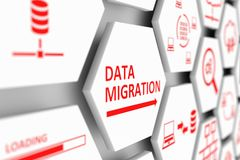 DATA MIGRATION concept. Cell blurred background 3d illustration Stock Image