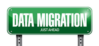 Data migration road sign illustration Stock Photos
