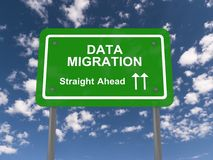 Data migration straight ahead. Green sign with white letters and message data migration straight ahead Royalty Free Stock Photos