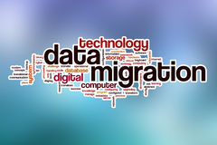 Data migration word cloud with abstract background Stock Photography