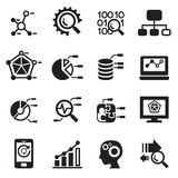 Data mining, Database, Data analysis icons set Stock Image