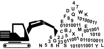 Data Mining with excavator. Knowledge discovery with datamining. Symbolized with an excavator and a pile of information Stock Photo