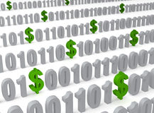 Data Mining. Green dollar signs appear randomly in rows of binary computer code illustrating extracting value from data. Shallow DOF Stock Image