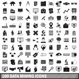 100 data mining icons set, simple style Royalty Free Stock Photography
