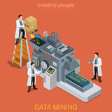 Data mining technology lab workers flat isometric vector 3d Royalty Free Stock Images