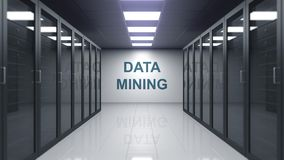 DATA - MINING-Titel auf der Wand eines Serverraumes Wiedergabe 3d vektor abbildung