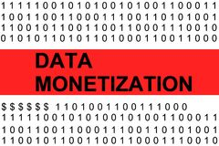 Data monetization. Is presented in the form of binary code Stock Photography