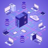 Data Network Cloud Computing Technology Isometric. Business concept with network server, computer, laptop, router and database. Storage and transfer data Royalty Free Stock Image