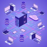 Data Network Cloud Computing Technology Isometric. Business concept with network server, computer, laptop, router and database. Storage and transfer data Royalty Free Stock Photography