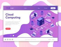 Data Network Cloud Computing Technology Isometric Royalty Free Stock Images