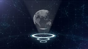Data network. Surrounding planet earth on three looping circles. Centre allocation. 3D. Close up. copy space. Zooming