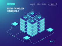 Data networking, bigdata processing and storage hardware, server room cabinet, computing isometric vector neon 3d. Data networking, bigdata processing and Royalty Free Stock Photo
