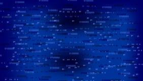 Data nummer 0 och 1 f?r bin?r kod f?r teknologi digitala p? bl? m?rk bakgrund f?r datorsk?rm royaltyfri illustrationer