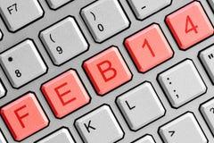 Data o 14 de fevereiro no teclado de computador Fotografia de Stock