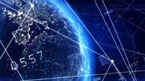 Data och globala kommunikationer royaltyfri illustrationer