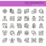 Data Organization Elements. Thin Line and Pixel Perfect Icons Royalty Free Stock Photos