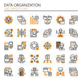 Data Organization Elements. Thin Line and Pixel Perfect Icons Royalty Free Stock Photography