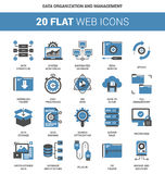 Data Organization and Management. Vector set of data organization and management flat web icons. Each icon neatly designed on pixel perfect 64X64 size grid Royalty Free Stock Images