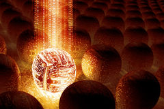 Data Oveload. 3D illustrated abstract technology background, featuring futuristic circuit spheres Stock Images