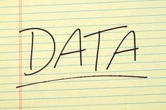 Data på ett gult lagligt block Royaltyfri Foto
