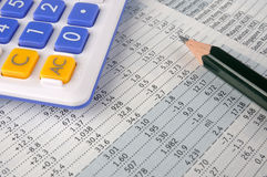 Data paper, pencil and calculator Stock Photos