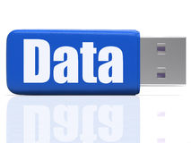 Data Pen drive Shows Digital Information And Stock Images