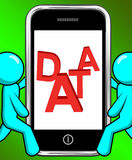 Data On Phone Displays Facts Information Knowledge Royalty Free Stock Photos