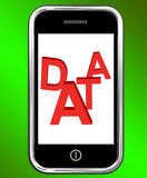 Data On Phone Shows Facts Information Knowledge Royalty Free Stock Photo