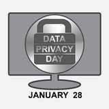 Data Privacy Day. Computer with sign lock Stock Photography
