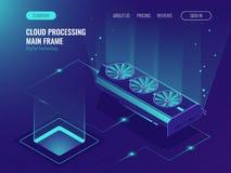 Data processing, computing power, mainframe service, data flow, internet data share ultraviolet isometric vector. Illustration Stock Photos