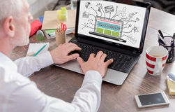 Data processing concept on a laptop screen. Data processing concept shown on a laptop screen Royalty Free Stock Photo