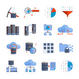 Data Processing Icons. Data processing and information analytics flat color icons set isolated vector illustration Royalty Free Stock Photography