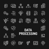 Data Processing Simple Line Icon Set royalty free stock images
