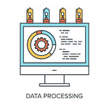 Data Processing. Vector illustration of data processing flat line design concept Royalty Free Stock Photo