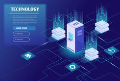 Data processing. Web hosting and big data processing, server room rack. Data center, cloud storage technology. Energy station concept. Isometric vector Royalty Free Stock Image