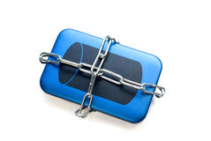 Data protection. External hard drive chained and isolated over white Stock Photography