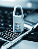 Data protection. Concept with mobile phone and ciphered padlock Royalty Free Stock Image
