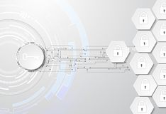 Data protection abstract background with key and locks. Data security abstract background with locks, key, abstract circles and hexagons. Used clipping and Stock Image