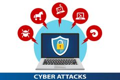 Data protection against cyber attacks stock illustration