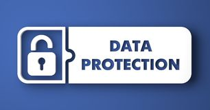 Data Protection on Blue in Flat Design Style. Royalty Free Stock Photo