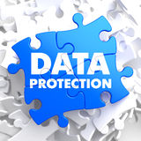 Data Protection on Blue Puzzle. Stock Photo