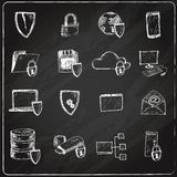 Data protection chalkboard icons Stock Photography