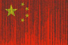 Data protection China flag. Chines flag with binary code. Binary code stock illustration