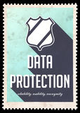 Data Protection Concept on Blue in Flat Design. Stock Images