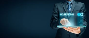 Data protection concept. Businessman click on button to activate data protection stock photos