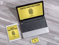 Data protection concept on different devices. Data protection concept shown on different information technology devices Royalty Free Stock Photography