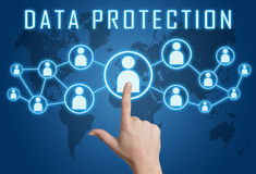 Data Protection. Concept with hand pressing social icons on blue world map background Royalty Free Stock Photos