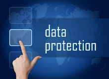 Data Protection. Concept with interface and world map on blue background Stock Photography