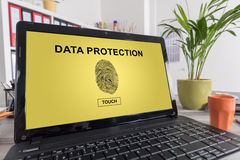 Data protection concept on a laptop. Laptop screen with data protection concept Stock Photos