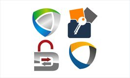Data protection concept Set. Vector Royalty Free Stock Image